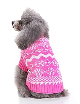 Weant Christmas Fashion Comfortable Pet Clothes Festival Dress Sweater Knitwear (M, Pink) 3