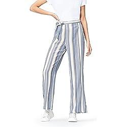 FIND Pantalón de Rayas con Lazada en la Cintura para Mujer , Azul (Blue Stripe), 42 (Talla del Fabricante: Large)