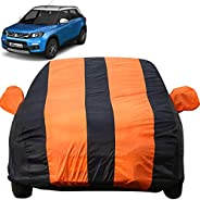 Autofact Car Body Cover for Maruti Brezza (Mirror Pocket, Premium Fabric, Triple Stiched, Fully Elastic, Orang