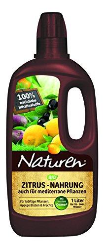 Naturen Bio Zitrus und Mediterrane Pflanzen Nahrung, Organisch-mineralischer Flüssigdünger aus natürlichen Rohstoffen und mit Spurennährstoffen - 1 Liter Flasche
