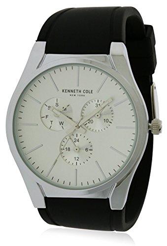 Kenneth Cole Homme Bracelet Caoutchouc Noir Boitier Acier Inoxydable Quartz Cadran Blanc Montre KC50490001