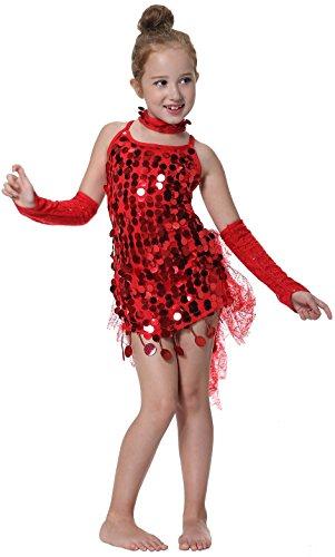 kleid Lateinamerikanische Tänze Kostüm für Karneval Halloween Rot (Süße Leichte Mädchen Halloween-kostüme)