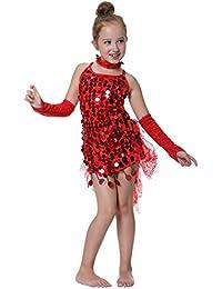 Seawhisper robe de danse latine à paillettes pour les Filles Costumes des enfants Spectacles