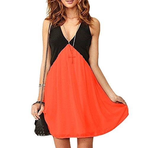 MEXI Damen Sommerkleider Strandkleider Bandeau rückenfrei Sexy Neckholder mit Spitze Stitching Party Rock Frauen Abendkleider Cocktailkleid Orange