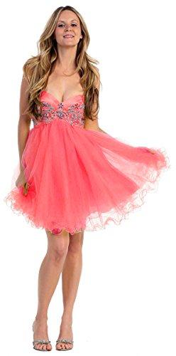 Nachtigall+Lerche Tüllkleid Kurz Petticoat-Kleid mit Tüllrock 50er Jahre Retro Sexy Tanzkleid Tütü Tutu Ballettkleid Damen Partykleid Outfit für Hochzeit Pink