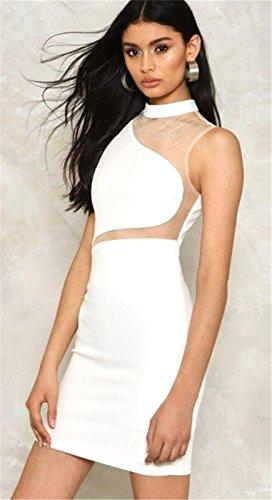 Sexy Encolure Montante Haute Sans Manche Transparente Empiècements en Maille Mini Courte Bodycon Fourreau Moulante Ajustée Dress Robe Blanc