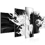 Bilder Milk und Coffee Wandbild 200 x 100 cm Vlies - Leinwand Bild XXL Format Wandbilder Wohnzimmer Wohnung Deko Kunstdrucke Schwarz Weiß 5 Teilig - MADE IN GERMANY - Fertig zum Aufhängen 005051b