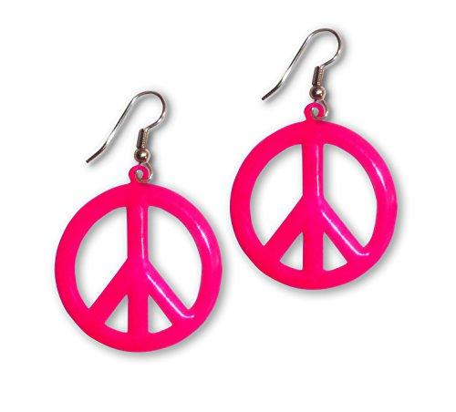 (Große Peace-Zeichen-Ohrringe, Farbe Neonpink)