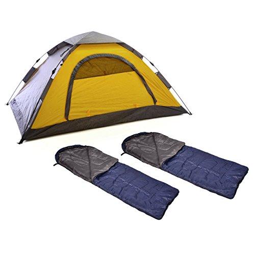 Campingset Automatik Zelt 2 Personen 210 x 140 x 95 Fenster Fliegengitter Reißverschluss Fiberglasgestänge mit 2x Schlafsack 180 x 75 cm blau 200 g/m² Polyester