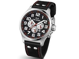 TW Steel Pilot TW-414 - Reloj cronógrafo de cuarzo para mujer, correa de cuero multicolor (cronómetro) de TW Steel
