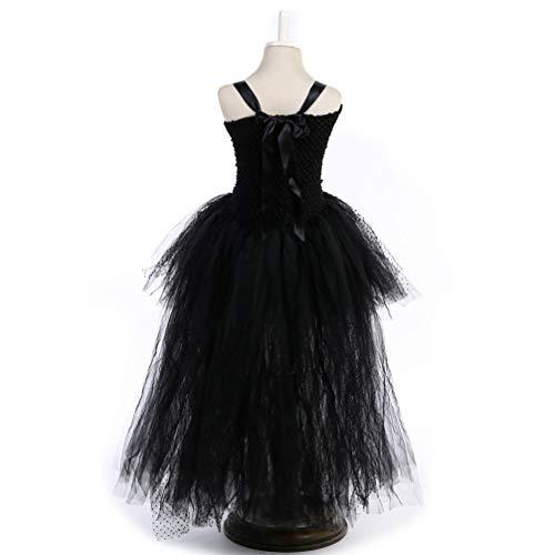 Mit Schwarz Kleid Teufel Kostüm - Happyyami schwarzer Teufel engelchen kostüm Kleid Halloween Cosplay kostüm Set mit Stirnband flügel kompatibel für 90-100 cm mädchen Kinder (schwarz)