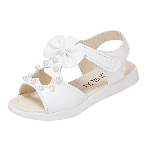 SOMESUN Fashion Baby Mädchen Sandalen Kinder Prinzessin Niedlich Perle Bowknot Sommer Weich Eben Strand Atmungsaktiv Beiläufig Freizeit Schuhe (EU30, Weiß #2)