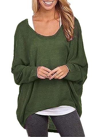 ZANZEA Mode Lâche Femme Shirt en Chauve-souris Manches Irrégulier Jumper Tops Hauts Armée Vert EU 46-48/Etiquette Taille XL