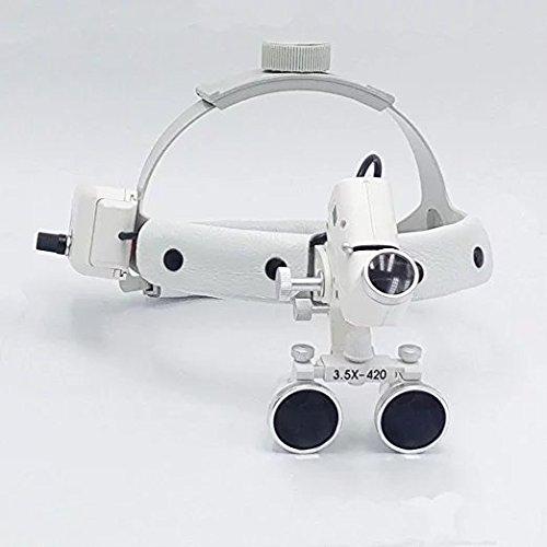 Hot Dental 3,5x 5W LED Chirurgischer Medical Stirnband Lupe mit Licht silber dy-106 (Stirnband Medizinische)