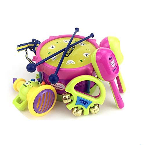 0Miaxudh Jazz Drum Toy Set, 5 Teile/Satz Kinder Jazz Drum mit Glocke Rassel Musikinstrumente Band Kit Spielzeug (Jungen-drum-set)
