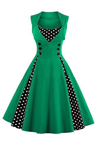 Plus Disco Kleider Size (YMING Damen SommerkleidÄrmellose Partykleid Midi Kleid Polka Dots Partykleid Ärmellos Vintage Kleid,Grün,XL / DE)
