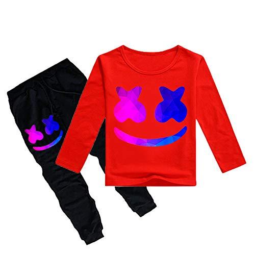 QYS Sudadera con Capucha para niño Chándales DJ Pantalones y Top Conjuntos Casco de Manga Larga EDM para niños,Red,120cm