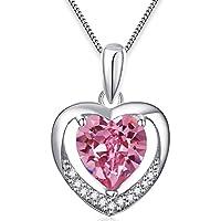 FLORAY Donna Cuore di rosa Cristallo Collana Argento Cuore Ciondolo , Sterling Silver Catena. Lunghezza Catena: 45cm