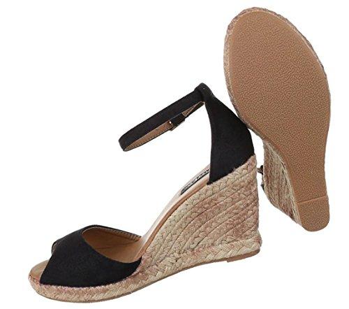 Damen Sandaletten Schuhe Pumps Abendschuhe Elegant Party Club High-Heel Keil Wedges Peep Toe Schwarz Camel 36 37 38 39 40 41 Schwarz