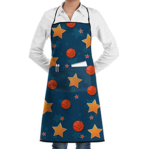 Yxungdiy Bib Apron with Pockets The On The Basketball Theme Home Kitchen Cooking Baking Garden Apron for Adult