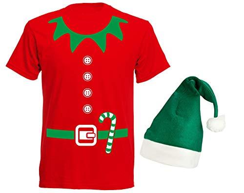 aprom Elfen T-Shirt in Kostüm Form mit Elfen Design & Grüner Mütze Weihnachten Nikolaus Gruppenkostüm Karneval X-Mas Elfenkostüm RG, Rot, - Rot Und Grün Elfe Kostüm
