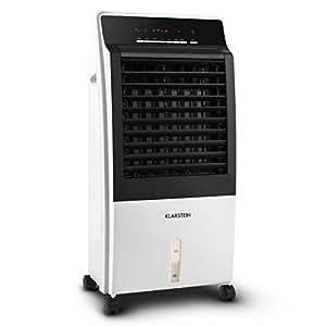 Klarstein Ctr-1 v2 - Rafraichisseur d'air mobile sur roulettes multifonction : humidificateur, ventilateur et purificateur d'air (65W, 400m³/h, télécommande incluse) - blanc
