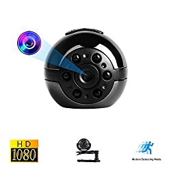 Mini Spy Versteckte Kamera, Vaxiuja Ultra-kleinen Runder Entwurfs 1080P Voller HD Beweglichen Kamera Nachtsicht 12 Megapixel Bewegungserkennung 360 Grad Drehung Unterstützungs TF Karte Bis Zu 32GB