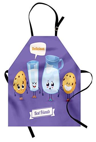 Plätzchen-Schürze, lustige Charaktere mit den Beinen Milch in den Gläsern Träumen von köstlichem Sprechblase-Comic, Unisex-Küchenschürze mit verstellbarem Hals für das Kochen Backen im Garten ()