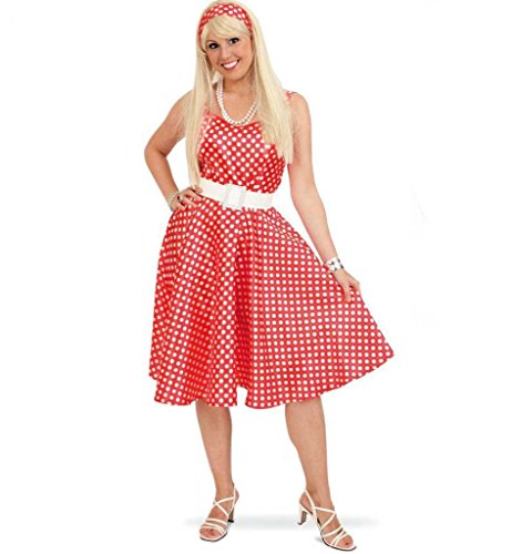 KarnevalsTeufel Damenkleid Betty, rot-weiß gepunktet mit weißem Gürtel und Haarband, 70er-Jahre, Rock 'n' Roll, Hippie , Schlagerparty