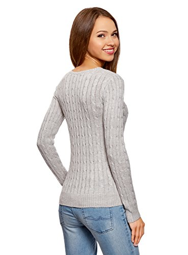 oodji Collection Damen Strickpullover mit Zopfmuster Grau (2000M)