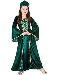 Girls Green Tudor/Maid Marion Medieval Princess Fancy Dress Costume