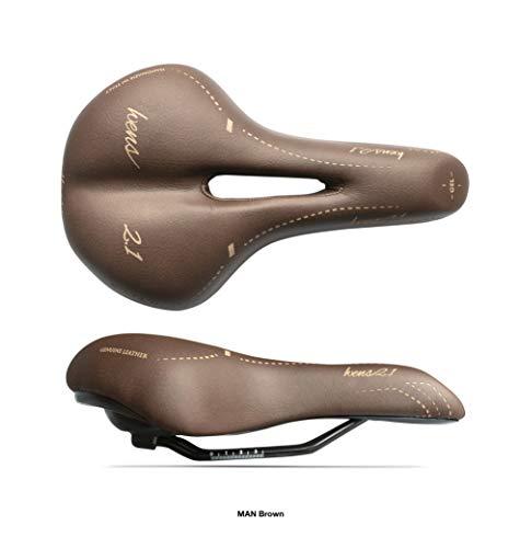 Sattel für Trekking-Fahrrad, für Herren, Modell WENS 2.1, Echtleder + Gel, für Stadtrad, handgefertigt in Italien 2020 - braun