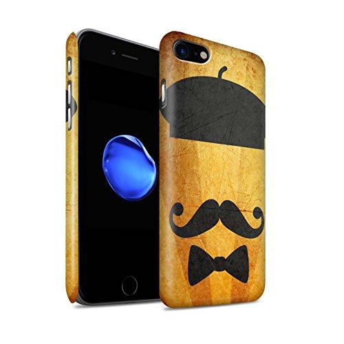 STUFF4 Matte Snap-On Hülle / Case für Apple iPhone 8 / Zylinder/Monokel Muster / Retro Schnurrbart Kollektion Barett Hut