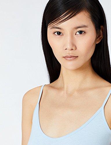 MERAKI Top Damen mit V-Ausschnitt, 2er Pack Blau (Cashmere Blue/White)