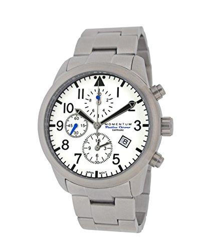 Momentum - Reloj Casual de Cuarzo para Hombre, Acero Inoxidable, Color Blanco