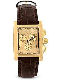 Oskar Emil Beige para hombre reloj infantil de cuarzo con esfera cronográfica y correa de piel color marrón Rodez de piel color marrón