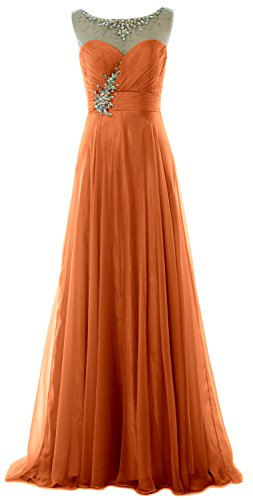 MACloth Women Crystal Chiffon Long Prom Dress Wedding Party Formal Evening Gown Koralle