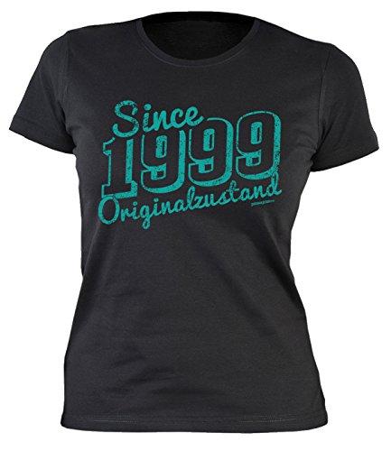 Damen T-Shirt zum Geburtstag: Since 1999 Originalzustand - Tolle Geschenkidee - Baujahr 1999 - Farbe: schwarz Schwarz