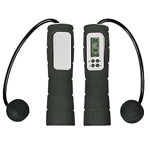 Corda da salto Professionale portatile Calorie LCD Digital Wireless Cordless dieta salto Jumping Rope Calorie e Jump conteggio del contatore fitness aerobico di esercitazione di allenamento (nero)