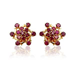 Lagu Bandhu 22k (916) Yellow Gold and Ruby Stud Earrings