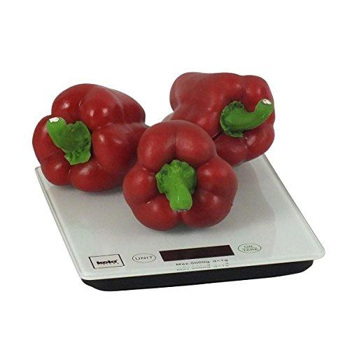 Kela 15740 Digitale Küchenwaage, Glas, 1 g-Feineinteilung, Tara-Funktion, Bis 5 kg Gewicht, Pinta, Weiß - 3
