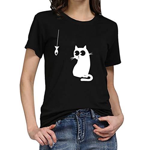 TWIFER Katze Gedruckt Damen Beiläufig Tees Shirt Kurzarm T Shirt Bluse Tops (Sushi Girl Kostüm)