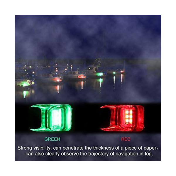 Fydun 12V LED Flush Mount Side Bow Navigation Signal Light 2Pcs 120° Lamp for Marine Boat Yacht Green 61.5lm&Red 19lm 4