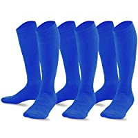TeeHee Bamboo All Sports Half Cushion Socks with Arch Support 3-Pairs Pack (Medium (9-11), Royal Blue)