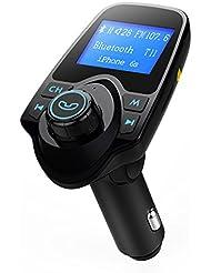 Bluetooth Transmetteur FM de Grand Ecran, Chargeur de voiture USB Kit de voiture sans fil avec Entrée / sortie audio 3,5 mm, prise de carte TF, port USB Flash Drive, Ecran 1,44 pouces …