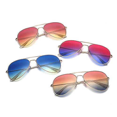 IFMASNN Im Freien, Sonnenbrille, Männer und Frauen, Retro, UV-Schutz, Mode, Trend, Marinefilm, kein Logo, Goldrahmen blau gelb