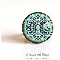 20 mm Cabochon-Ring aus marokkanischem Spiritus, Softblau, Türkisblau,