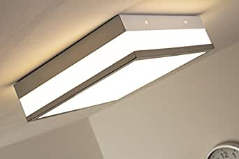 led deckenleuchte wing eckig 1 x 18 watt 1600 lumen 3000 kelvin warmweiss echtglas amazon. Black Bedroom Furniture Sets. Home Design Ideas