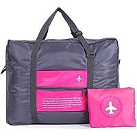 Borsoni Viaggio,Hipsteen Borsa da Viaggio impermeabile grande capacità di corsa portatile borsa pieghevole borsa attaccato al sacchetto dei bagagli - Rosa - Nylon Impermeabile Borsone