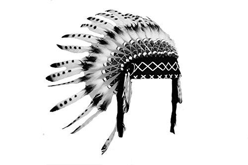 KARMABCN X08 - Indischer weißer und schwarzer Feder Kopfschmuck, Indianer Stil. - Schwarze Indische Kostüm